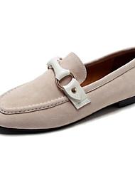 baratos -Mulheres Sapatos Camurça Primavera Verão Conforto Mocassins e Slip-Ons Salto Baixo Ponta quadrada Preto / Amêndoa / Castanho Claro