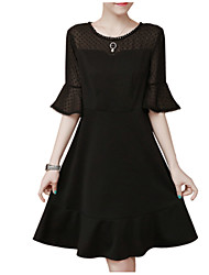 cheap -Women's Basic Flare Sleeve Little Black Dress Patchwork