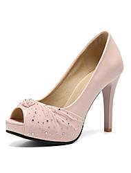 baratos -Mulheres Sapatos Couro Ecológico Primavera Verão Plataforma Básica Sapatos De Casamento Salto Agulha Peep Toe Pérolas / Gliter com Brilho