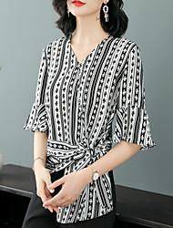 billige -Dame - Stribet Vintage / Basale Bluse