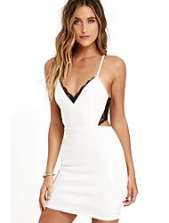 cheap -women's going out slim little black dress high waist asymmetrical deep v