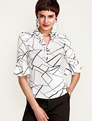 Недорогие -Жен. С принтом Рубашка V-образный вырез