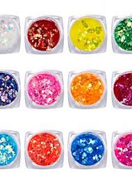 baratos -12pcs Formas de arte do prego Jóias de Unhas Adorável / Colorido arte de unha Manicure e pedicure Brilhante / Paetês Casual / Jóias de unha