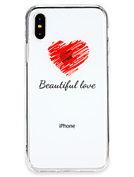 Недорогие -Кейс для Назначение Apple iPhone X / iPhone 8 Ультратонкий Кейс на заднюю панель Композиция с логотипом Apple / Слова / выражения / С сердцем Мягкий ТПУ для iPhone X / iPhone 8 Pluss / iPhone 8