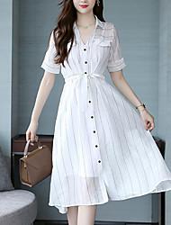 Недорогие -Жен. Изысканный Прямое / Рубашка Платье - Полоски, Бант / С разрезами Средней длины