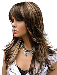 cheap -natural long alice turned brown with golden highlights wig for woman