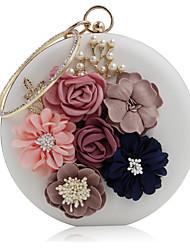 baratos -Mulheres Bolsas PU Bolsa de Festa Flor Branco / Preto / Rosa