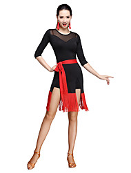 cheap -Latin Dance Outfits Women's Training Milk Fiber Tassel 3/4 Length Sleeve Natural Dress / Shorts / 1 Belt