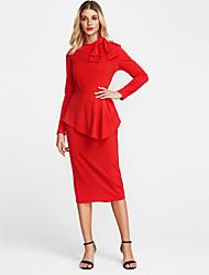 baratos -Mulheres Para Noite Skinny Bainha Vestido - Laço, Sólido Gola Redonda Acima do Joelho Vermelho