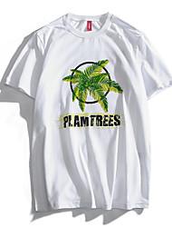 お買い得  -男性用 プリント Tシャツ ベーシック 幾何学模様 熱帯の葉