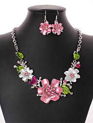 cheap -Women's Cuban Link / Curb Jewelry Set - Flower Sweet Lolita, Romantic, Fashion Include Hoop Earrings / Choker Necklace / Statement Necklace Rainbow For Party / Festival