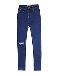 cheap -Women's Cotton Slim Jeans Pants - Solid Colored High Waist / Going out