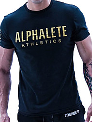 cheap -Men's Running Shirt - Black, Orange, Blue Sports Letter & Number Tee / T-shirt Fitness, Gym, Workout Short Sleeves Activewear Quick Dry, Breathable, Soft