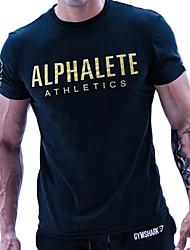 baratos -Homens Camiseta de Corrida - Preto, Laranja, Azul Esportes Carta e Número Camiseta Manga Curta Roupas Esportivas Suavidade