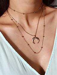 economico -Per donna Nappa Girocolli / Collane Layered - MOON Pendente, Di moda Oro, Argento 30+50 cm Collana 1pc Per Regalo, Strada