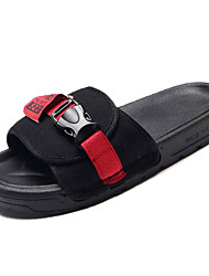 cheap -Women's Shoes Knit / Canvas Summer Slingback Slippers & Flip-Flops Flat Heel Black / Red / Slogan