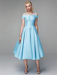 cheap -A-Line Illusion Neck Tea Length Satin / Tulle / Mikado Prom Dress with Crystals / Pleats by TS Couture®