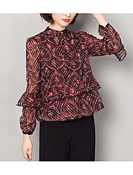 economico -T-shirt Per donna Essenziale / Moda città Sleeve Lantern Pizzo, Tinta unita Girocollo - Cotone / Primavera / Taglia piccola