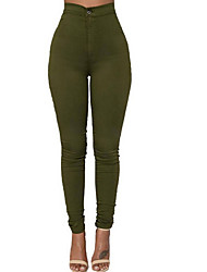 cheap -Women's Skinny Jeans Pants - Solid Colored High Waist