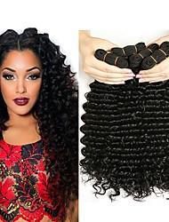 cheap -4 Bundles Malaysian Hair Curly Human Hair Natural Color Hair Weaves / Hair Bulk / Human Hair Extensions 8-28 inch Natural Color Human Hair Weaves Capless Best Quality / Hot Sale / For Black Women