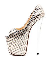 abordables -Mujer Zapatos PU Otoño invierno Pump Básico Tacones Tacón Stiletto Punta abierta Hebilla Plata / Boda / Fiesta y Noche