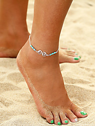 cheap -Turquoise Anklet - Music Notes, Donuts Bohemian, Fashion Silver For Holiday / Bikini / Women's