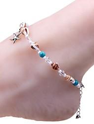 Недорогие -Ножной браслет - Резина морская звезда, Морская раковина Милая, Мода Серебряный Назначение Повседневные Бикини Жен.
