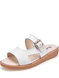 preiswerte -Damen Schuhe Leder Sommer Komfort Slippers & Flip-Flops Flacher Absatz Weiß / Schwarz / Beige