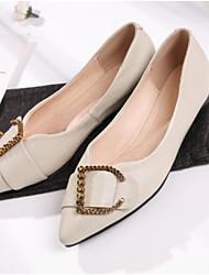 abordables -Femme Chaussures Cuir Nappa Eté Confort Mocassins et Chaussons+D6148 Talon Plat Bout fermé Noir / Beige
