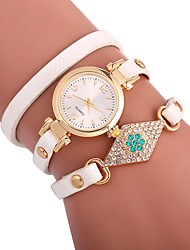 cheap -Xu™ Women's Bracelet Watch / Wrist Watch Chinese Creative / Casual Watch / Adorable PU Band Fashion / Minimalist Black / White / Blue / Imitation Diamond / Large Dial / One Year
