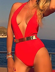 cheap -Women's One-piece - Solid Colored Cheeky
