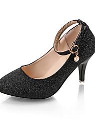 abordables -Femme Chaussures Polyuréthane Eté Escarpin Basique Chaussures à Talons Marche Talon Aiguille Bout pointu Paillette Argent / Violet / Rose