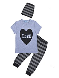 Недорогие -малыш Мальчики Черный и серый Полоски / С принтом С короткими рукавами Набор одежды