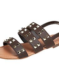 お買い得  -女性用 靴 PUレザー 春 / 夏 スリングバック サンダル フラットヒール リベット ブラック / ベージュ / コーヒー