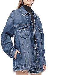 Недорогие -Жен. Джинсовая куртка Однотонный Пэчворк