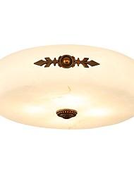 abordables -QIHengZhaoMing 3 lumières Montage du flux Lumière d'ambiance Laiton Antique Métal Marbre 110-120V / 220-240V Blanc Crème Ampoule incluse