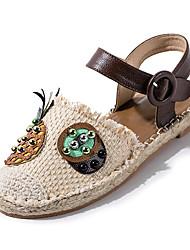 cheap -Women's Shoes PU(Polyurethane) Summer Gladiator Sandals Flat Heel Round Toe Buckle Brown