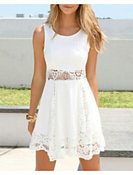 cheap -Women's Basic / Street chic A Line Dress - Solid Colored Lace / Cut Out
