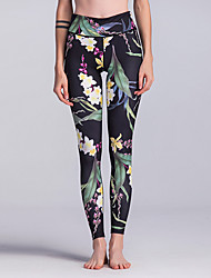 cheap -Women's Sporty Legging - Floral, Print High Waist