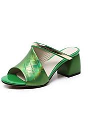 abordables -Femme Chaussures Cuir Eté Confort Sandales Talon Bottier Bout ouvert Noir / Argent / Vert