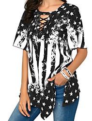 billige -Dame - Farveblok Basale / Boheme T-shirt