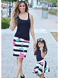 Недорогие -Мама и я Классический Повседневные Цветочный принт Без рукавов Платье Черный