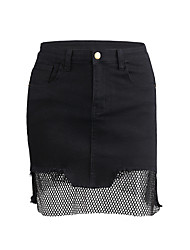 cheap -Women's Basic Bodycon Skirts - Solid Colored Cut Out / Split / Patchwork High Waist / Summer / Skinny
