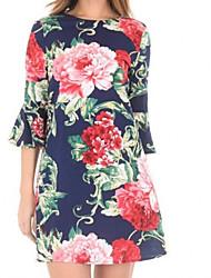 abordables -Mujer Básico Línea A Vestido Floral Sobre la rodilla