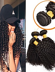 cheap -3 Bundles Peruvian Hair Curly Unprocessed Human Hair / Human Hair Human Hair Extensions 8-28 inch Black Natural Color Human Hair Weaves Machine Made Soft / Extention / Best Quality Human Hair