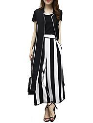 cheap -Women's Loose Wide Leg Pants - Striped High Waist / Going out