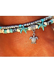cheap -Turquoise Layered Ankle Bracelet - Turtle, Starfish Bohemian, Ethnic, Fashion Silver For Going out / Beach / Bikini / Women's