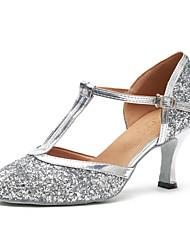 billiga -Dam Moderna skor Lack Sneaker Paljett Kubansk klack Dansskor Silver