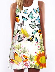 お買い得  -女性用 ヴィンテージ シフォン ドレス フラワー 膝上