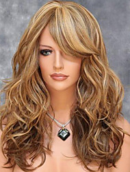 cheap -Synthetic Wig Wavy Layered Haircut Synthetic Hair Side Part / With Bangs / For European Brown Wig Women's Medium Length Natural Wigs